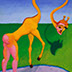 "Becoming a Giraffe 2, Oil on canvas, 8"" x 10"" 2011"